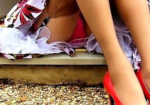hd videos,outdoors,panties,pantyhose,retro,stockings,upskirt,