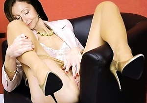 hairy pussy,heels,japan mature,japanese celebrity,masturbating,nylon,stockings,