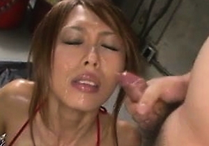 bikini, blowjob, gagging, japanese milf, oiling, threesome  sex,