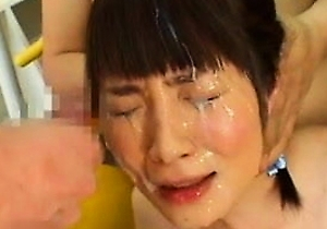 bukkake, cumshots, cute japan girls, facialized, swimsuit,