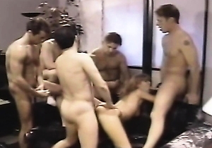 blowjob, doggystyle fuck, facialized, gangbang, leather, retro,