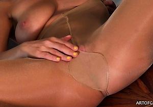 fingered,heels,masturbating,natural tits,nylon,pantyhose,stockings,upskirt,